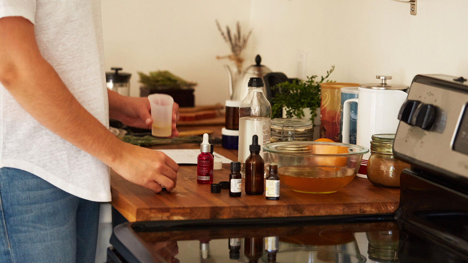 Getting ingredients ready for Caroline Wachsmuth's Heart Oil recipe