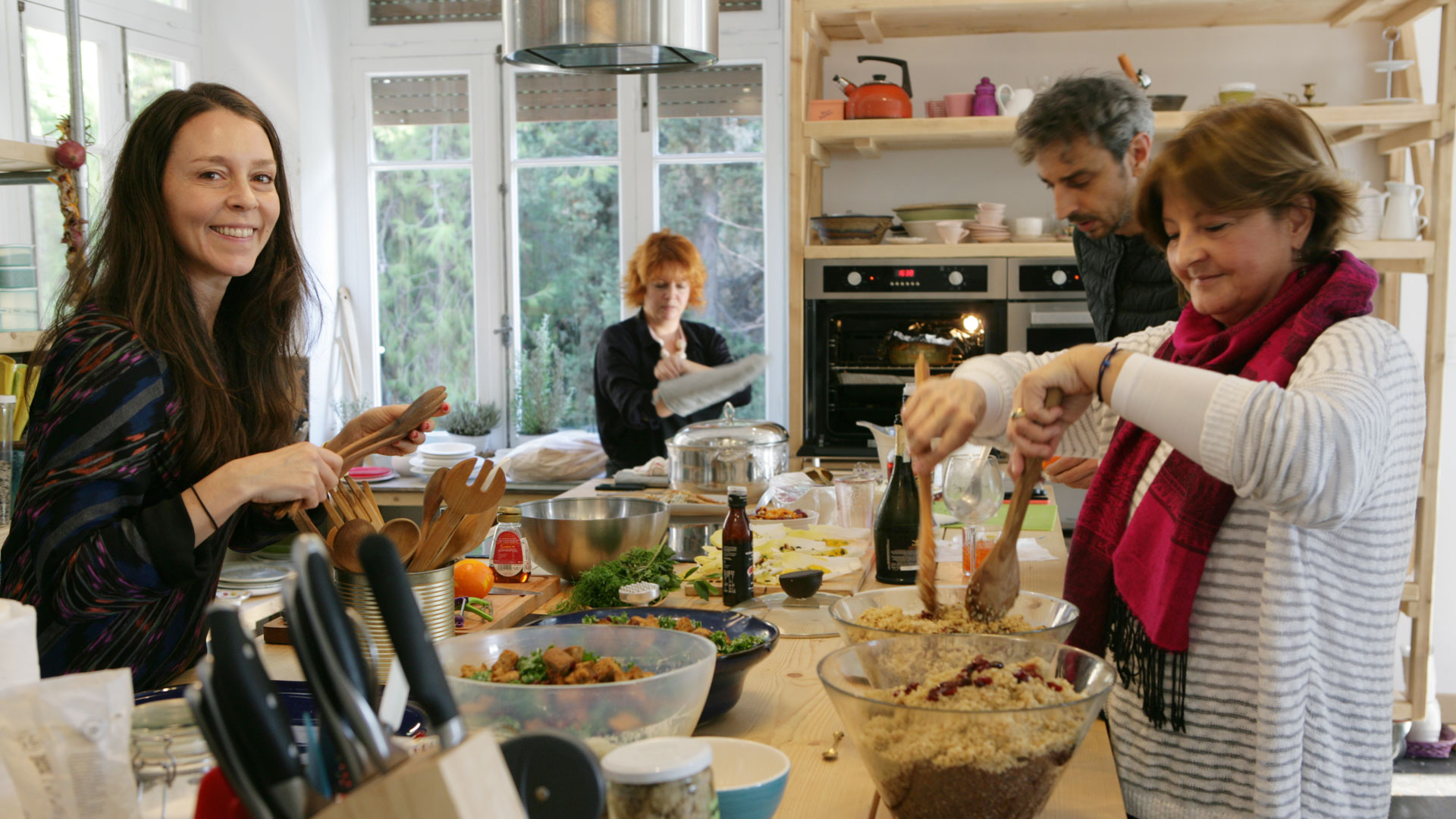 Alison Beckner from Scout Consulting cooking dinner with friends