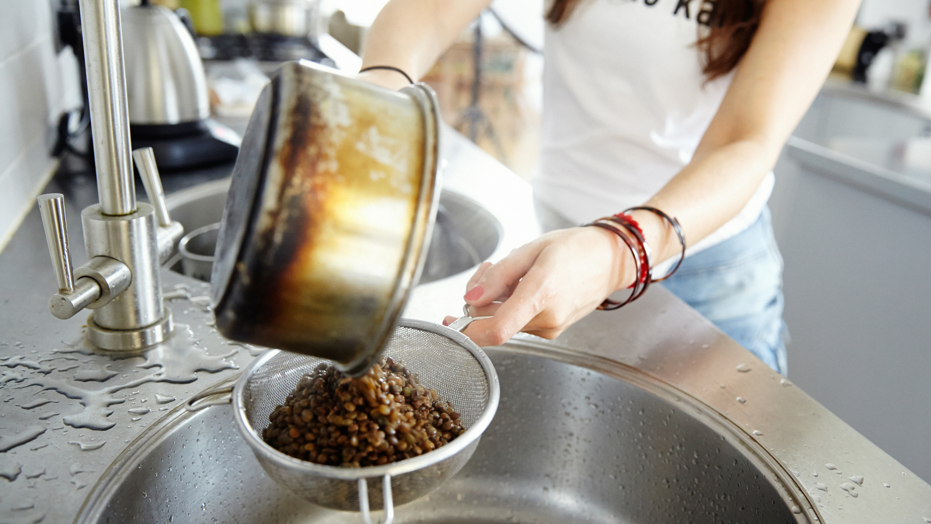 catherine-cuello-drains-puy-lentils-for-her-french-lentils-with-a-ton-of-herbs-recipe-foodadit