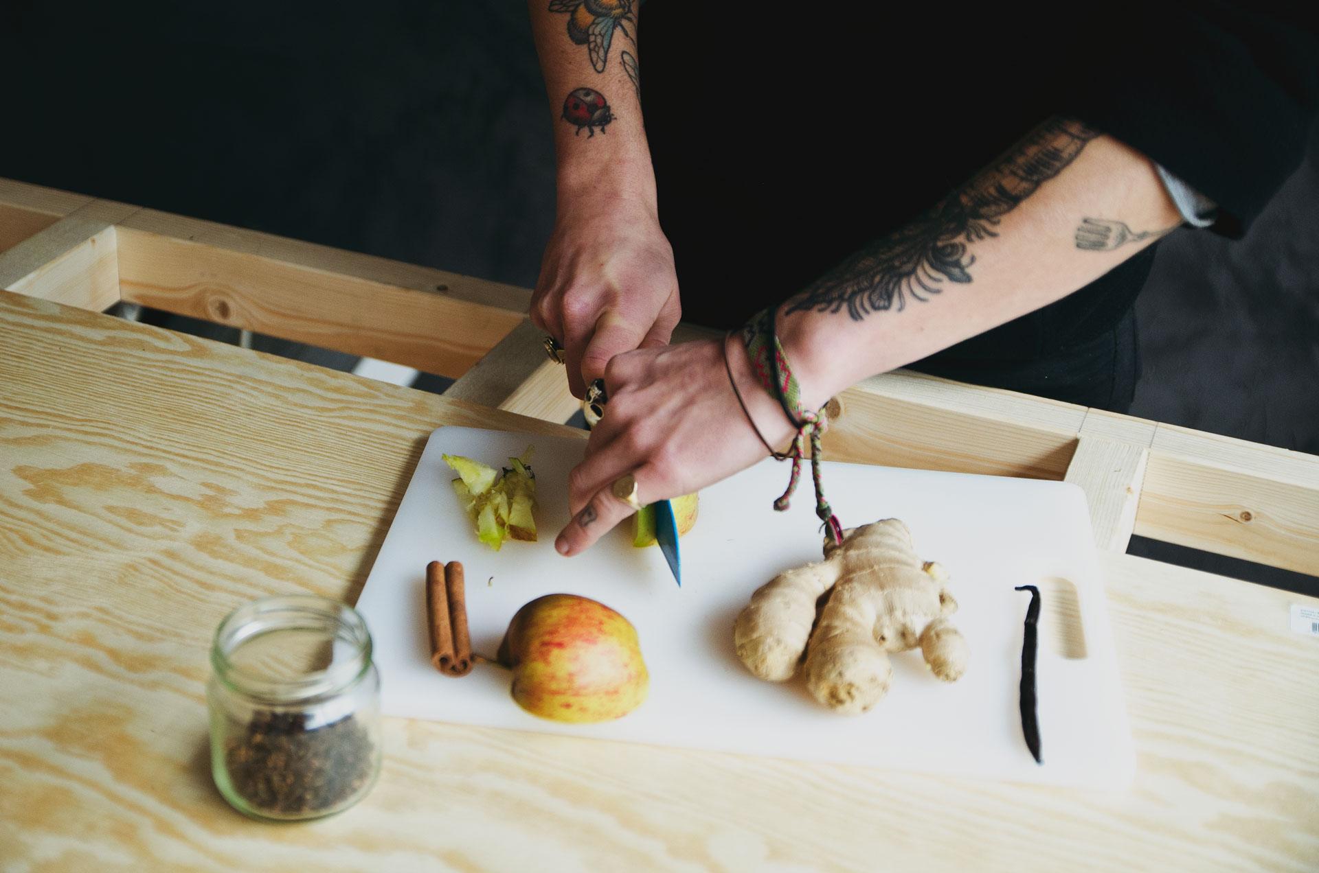 Berlin Kombucha Society preparing ingredients for a second ferment