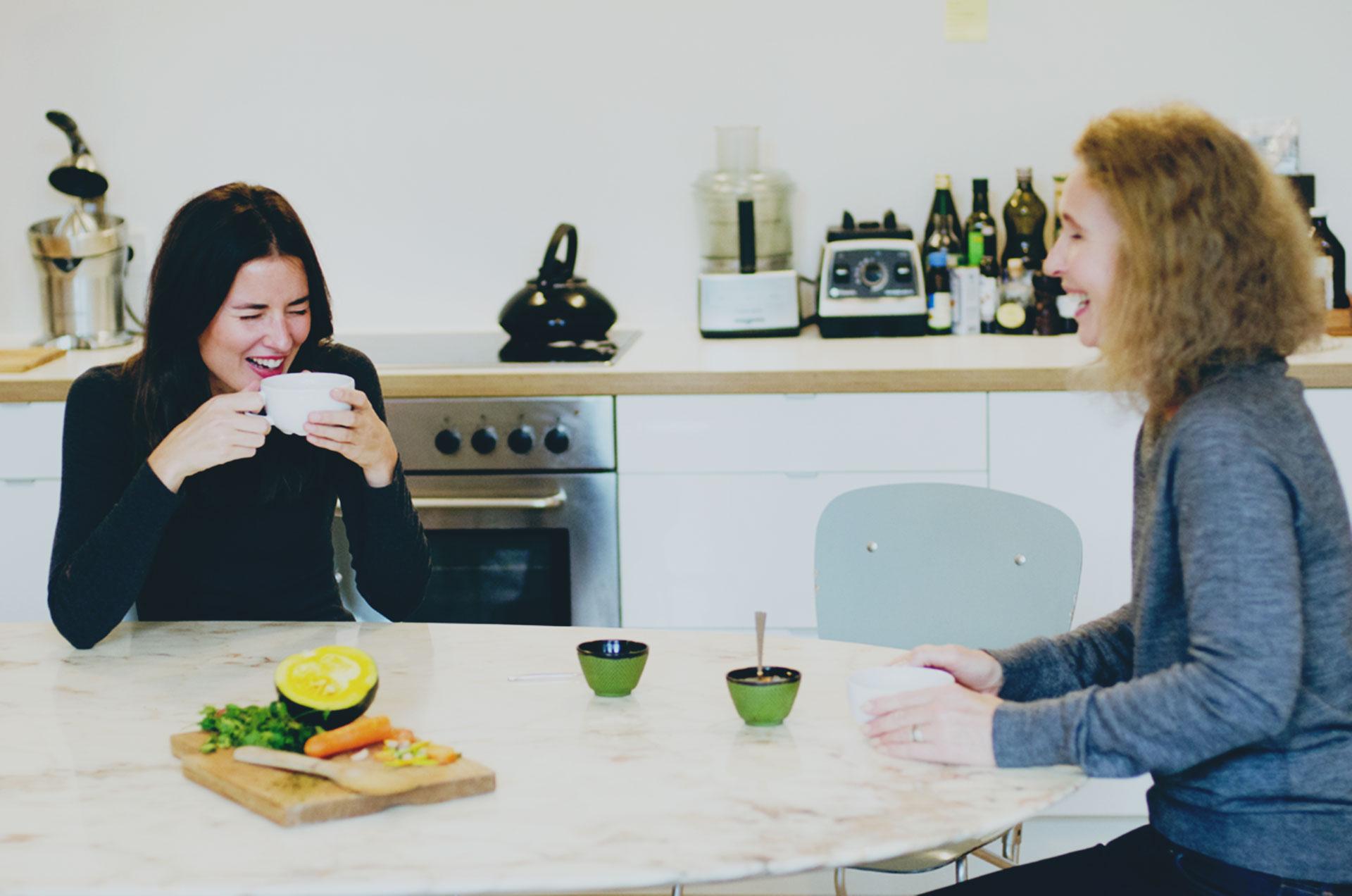 Sally Ross-Clark sharing her immune-system-calming Kuzu Comforter Drink with her daughter, Natasha.