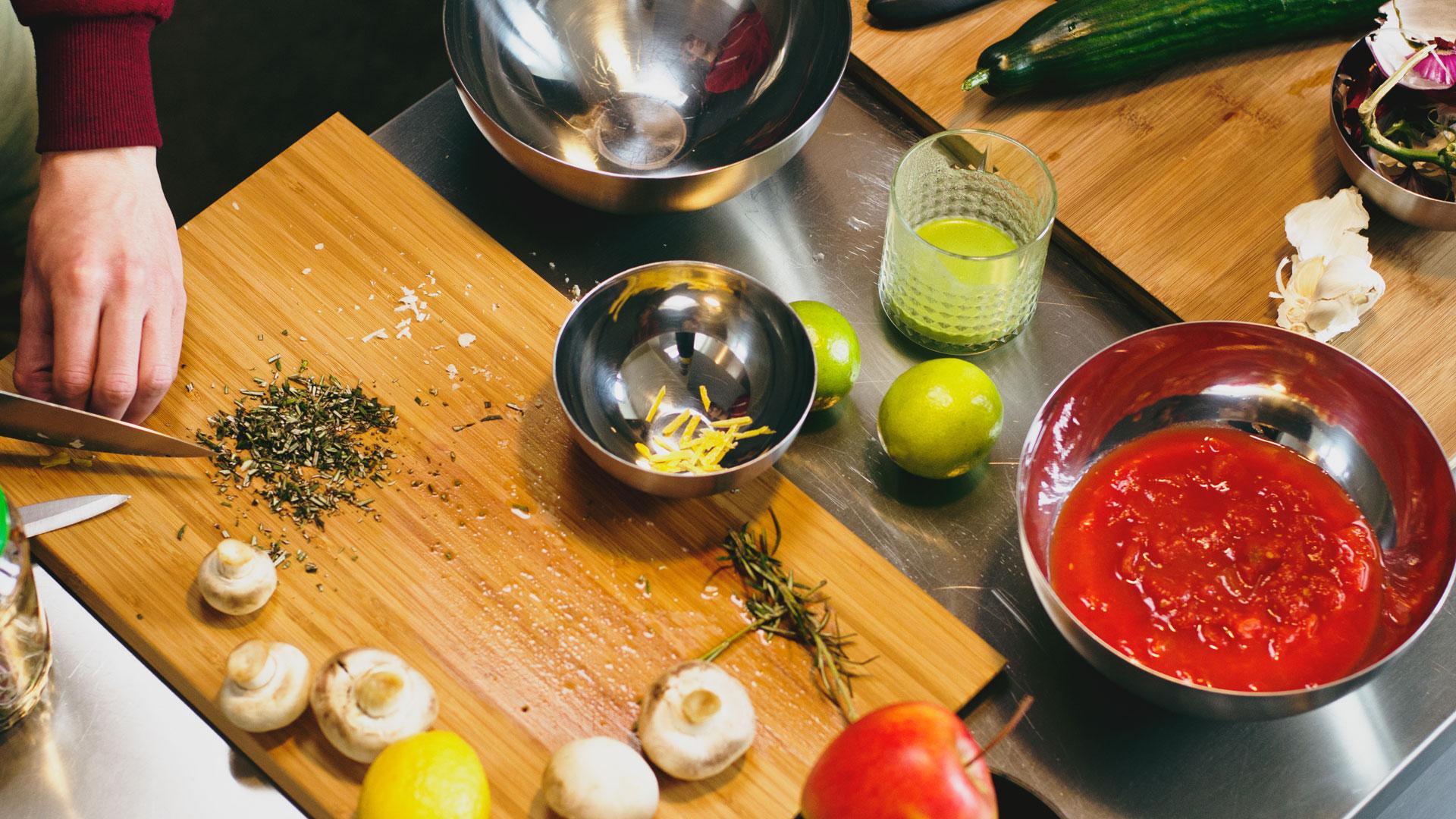 Preparing-ingredients-for-vegan-gluten-free-lentil-lemon-rosemary-rocket-salad-and-gazpacho-soup-Foodadit